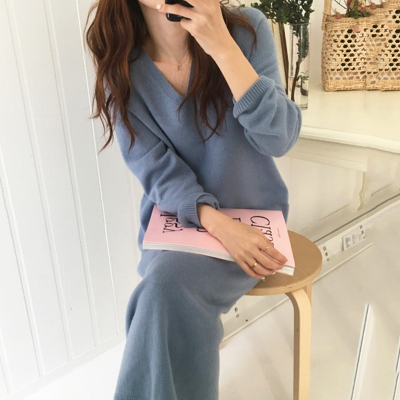 Winter Sweater Dress Women Thick Knitted Party Long Dress Plus Size Elegant Vintage Korean Long Sleeve Straight Sweater V725|Dresses| - AliExpress