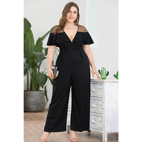 AIYIGU Ladies Plus Size Jumpsuit Woman Large Big Size Holllow Out Clothes V neck Cloak Sleeve Clothing Summer Black Playsuit
