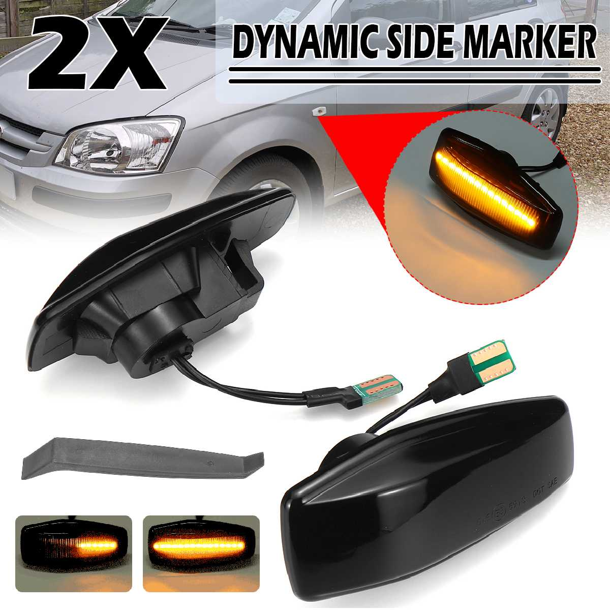 2pcs Flowing Turn Signal Led Side Marker Light 12V Panel Lamp Side Lamp Dynamic Indicator Blinker For Hyundai I10 TRAJET GETZ
