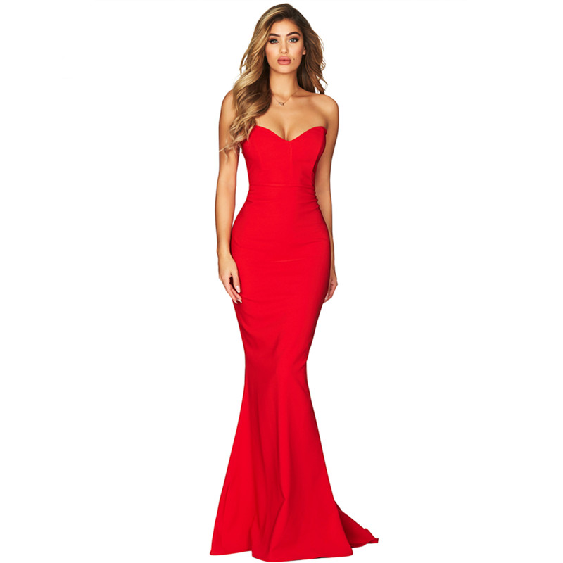 U Women Strapless Sweetheart Neckline Mermaid Gown Evening Party Dress Sexy Sleeveless Long Maxi Elegant Lady Charming Vestidos