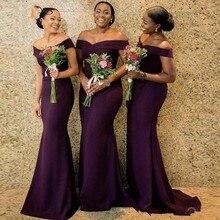 Элегантный винограда Русалка платья невесты с плеча длина пола горничной честь платья свадьба гость платья Vestidos халат