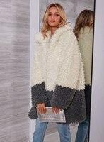 Women Coat Warm Loose Contrast Color Wool Overcoat Soft Outerwear Casual Artificial Fur Long Sleeve Wadded Jacket Femme Tops