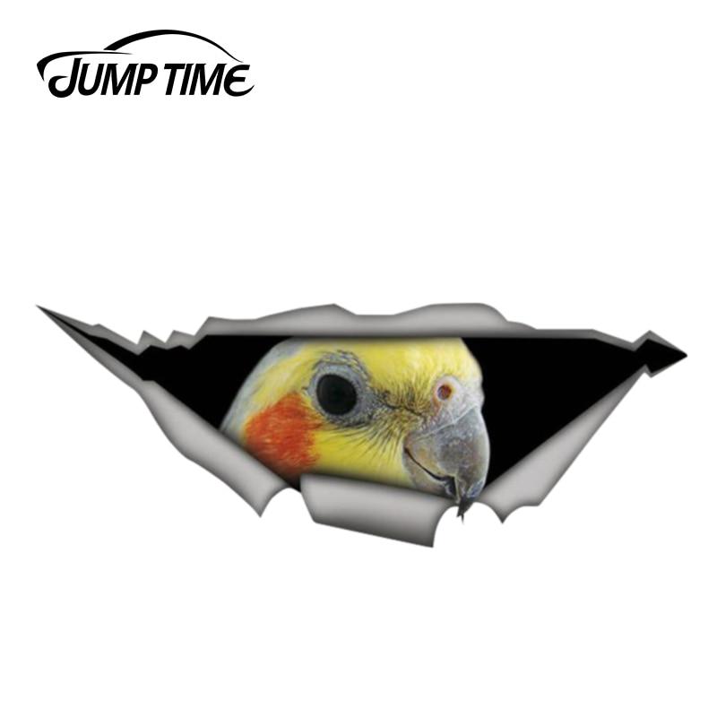Jump Time 13cm X 4.8cm Cockatiel Parrot Decal Sticker Torn Metal Decal Wild Animal Car Stickers Window Bumper 3D Car Styling
