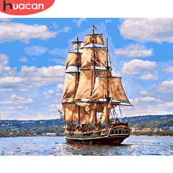HUACAN Painting By Number Boat Drawing On Canvas HandPainted Painting Art Gift DIY Pictures By Number Scenery Kits Home Decor