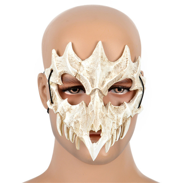 Japanese Dragon God Mask Cosplay PU Tengu Mask White Skull Scary Half Face Mask for Halloween 1