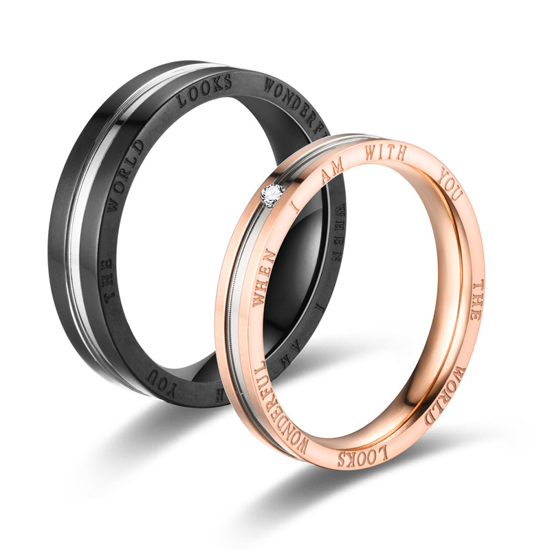 Rings Ring-Accessories Jewelry Engagement-Ring Couple Rose-Gold Stainless-Steel Men Gift