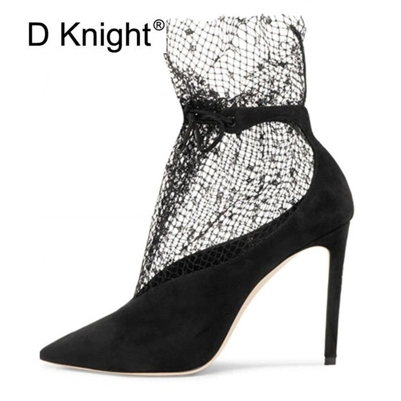 Spring Summer 2020 New Pumps Shoes Woman Sexy Pointed Toe V-Mouth Stilettos Mesh Hollow Skinny Lady Ankle Boot Fairy High Heels