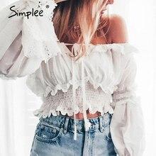 Simplee Elastic high waist women blouse shirt