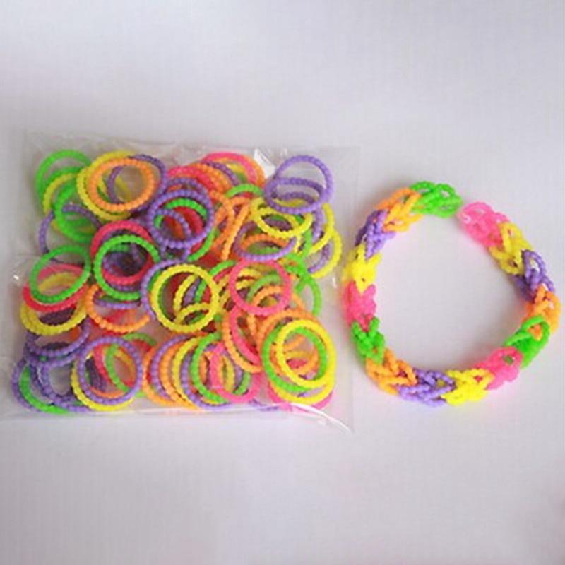 300Pcs/Set Children DIY Loom Girl Hair Band Woven Bracelets Kids Toys Rubber Colorful Bands Bracelet Educational Toys