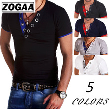 ZOGAA New T-Shirt Men Button Short Sleeve Fitness Top Cotton Polyester Pollover V Neck Collar Tshirt Five Colour Size S-3XL