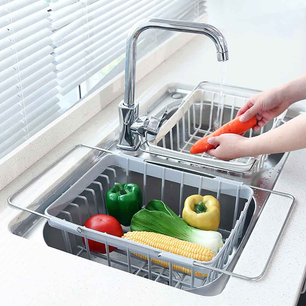 Kitchen Retractable Sink Drain Basket Plastic Dish Rack Sink Filter Water Basket Kitchen Sink Accessories Kitchen Drain Basket