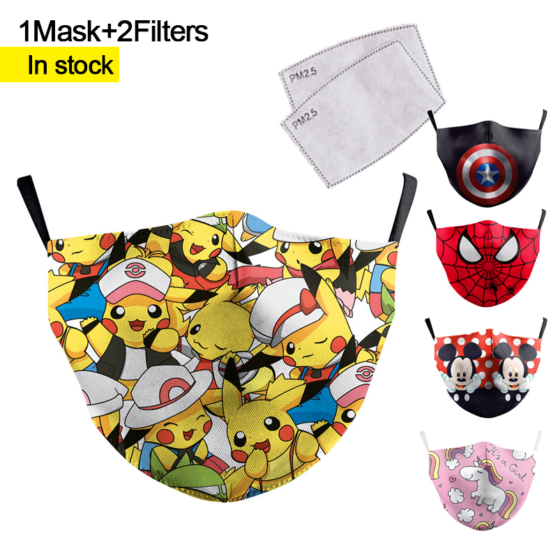 Reusable Adult Anime Print Mouth Face Mask Spiderman Batman Kids Mask Windproof Proof Flu Washable Fabric Mask For Party