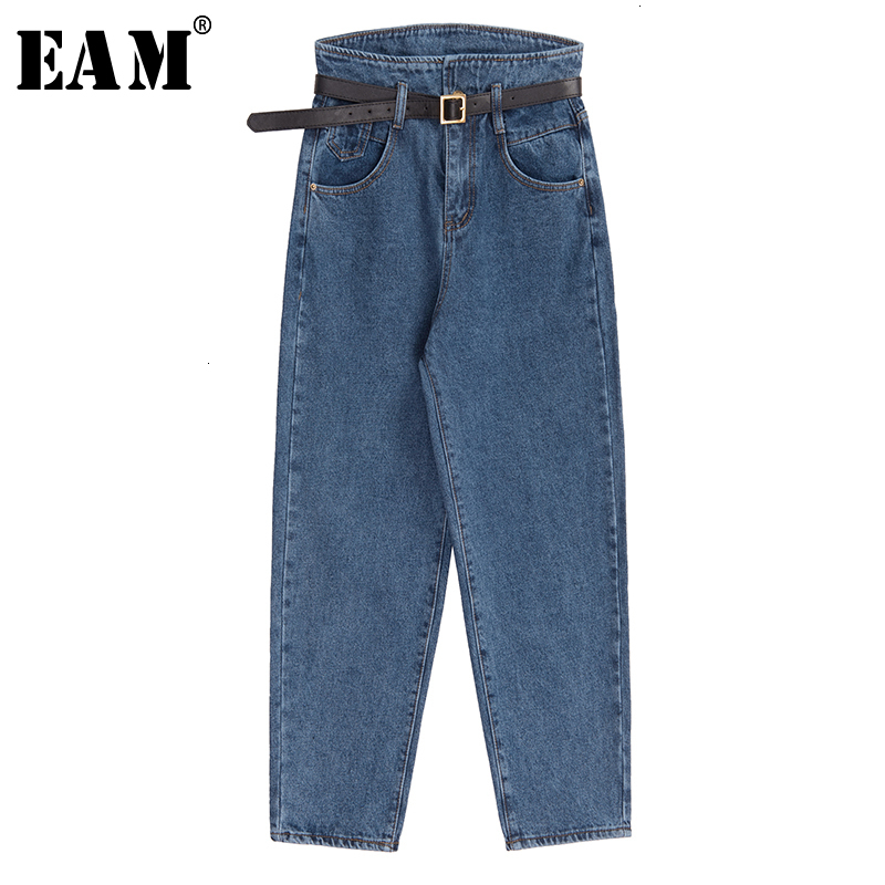 [EAM] Wide Leg Leisure Brief Split Long Jeans New High Waist Loose Women Trousers Fashion Tide Spring Autumn 2019 19A-a311