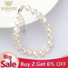 ASHIQI настоящие натуральные жемчужные браслеты барокко 9-10 мм белый пресноводный жемчуг ювелирные изделия подарок для женщин модные браслеты