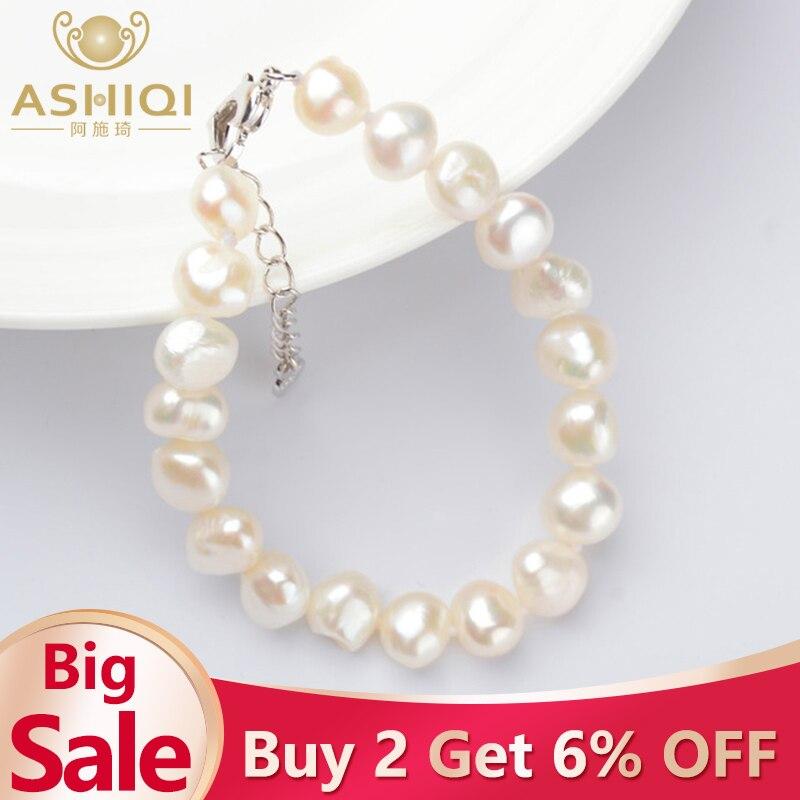 ASHIQI Genuine Natural Baroque Pearl Bracelets 9-10mm White Freshwater Pearl Jewelry Gift For Women Fashion Bracelets 2019