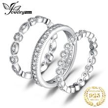 Conjuntos de anillos de boda Jpalace, 925 anillos de plata esterlina para mujeres, aniversario, eternidad, juego de anillos apilable, joyería de plata 925