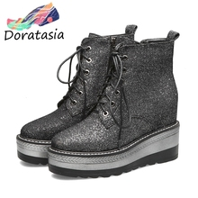 DORATASIA New Sweet Girl Thick Platform Booties Autumn lace-up Wedges Ankle Boots Women 2019 Fashion High Shoes Woman