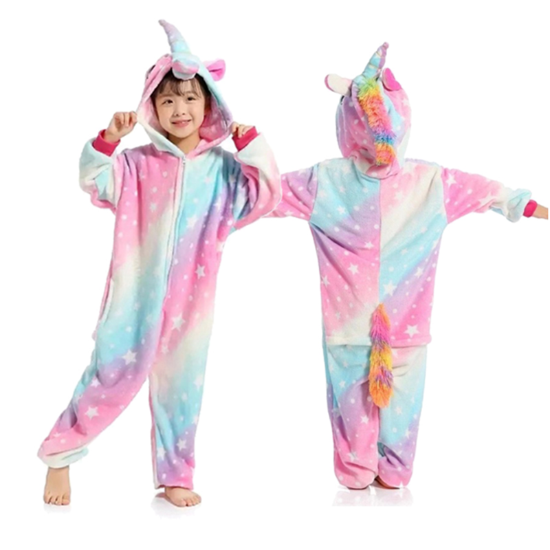Kid Kigurumi Rabbit Pajama For Girl New Year Winter Soft Jumpsuit Loose Hare Costume Kid Cosplay