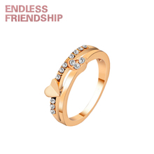 Endless Friendship Heart Sharp Diamond Lover Ring Golden Silver Fashion Couple For Woman anillos mujer Wedding Gift
