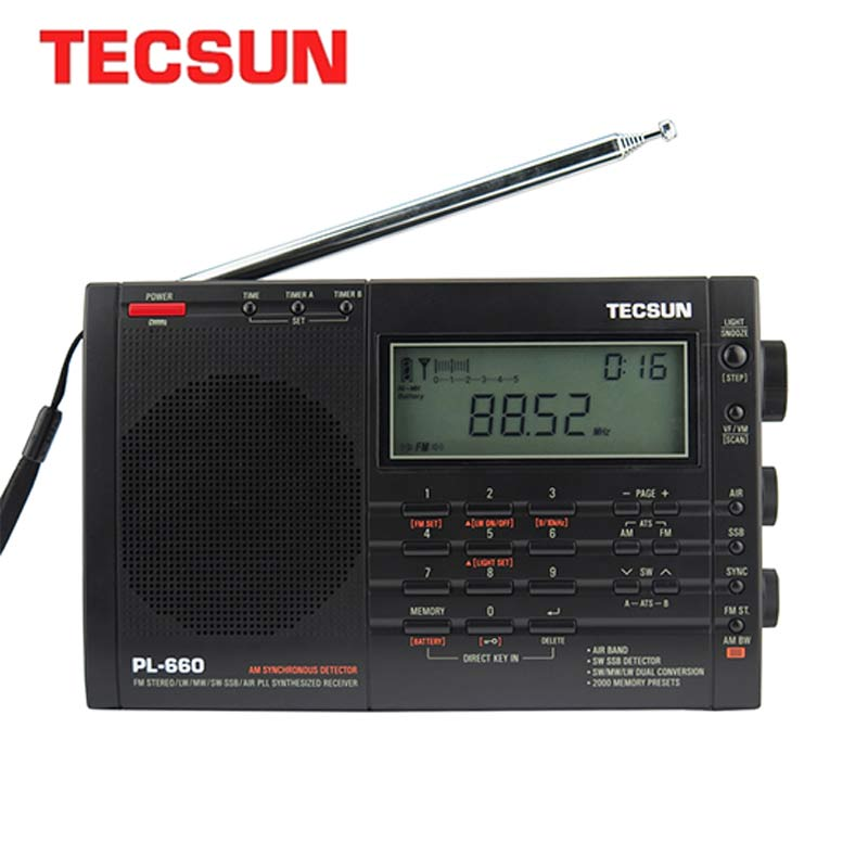 Tecsun PL-660 Radio Pll Ssb Vhf Banda Di Aria Ricevitore Radio Fm/Mw/Sw/Lw Radio Multibanda Dual Conversione Di Internet Radio Portatile