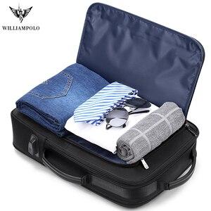 Image 3 - WILLIAMPOLO الرجال الفاخرة على ظهره متعددة الوظائف للماء سفر الأعمال مكافحة سرقة حقيبة USB تهمة دفتر ملاحظات للسفر حقيبة