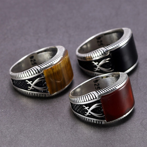Image 2 - Garantiert 925 Sterling Silber Ringe Retro Vintage Türkische Ringe Mann Ringe Mit Stein Rot Schwarz Onyx Tiger Eye Türkischen Schmuck