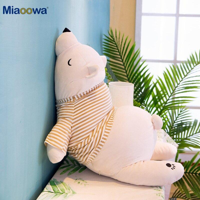 Ours polaire en peluche Kawaii 35-110CM, jouets en peluche pour bébé, Animal pour dormir, oreiller, cadeaux de dessin animé pour enfants