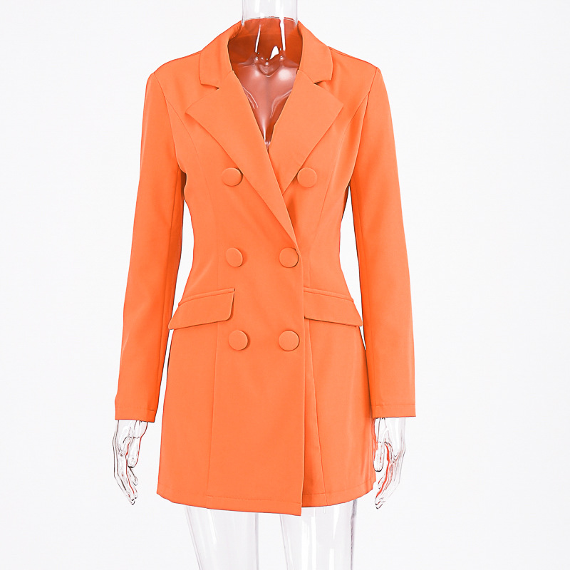 Cryptographic Deep V-neck Female Long Blazers Double Breasted Long Sleeve Orange Blazer Fashion Autumn 2019 Fitted Long Jackets