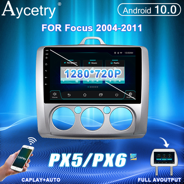 PX6 Car Radio 2 Din Android 10 Multimedia video Player autoradio For ford focus 2 Mk2 2004 2011 Stereo Navigation GPS no2din dvd