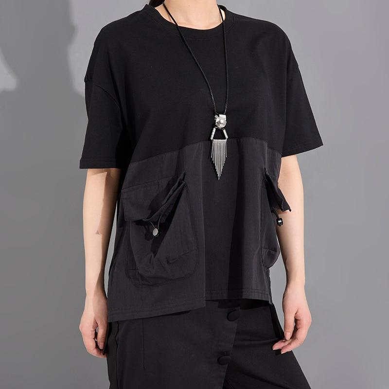 [EAM] Women Black Pocket Irregular Split Big Size T-shirt New Round Neck Short Sleeve  Fashion Tide  Spring Summer 2020 1T70601 6