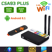 2019 csa93 mais android 8.1 caixa de tv 4gb ram 64gb rom 2.4g 5g wifi bluetooth 4.0 conjunto inteligente caixa superior rk3328 h.265 4k hd media player