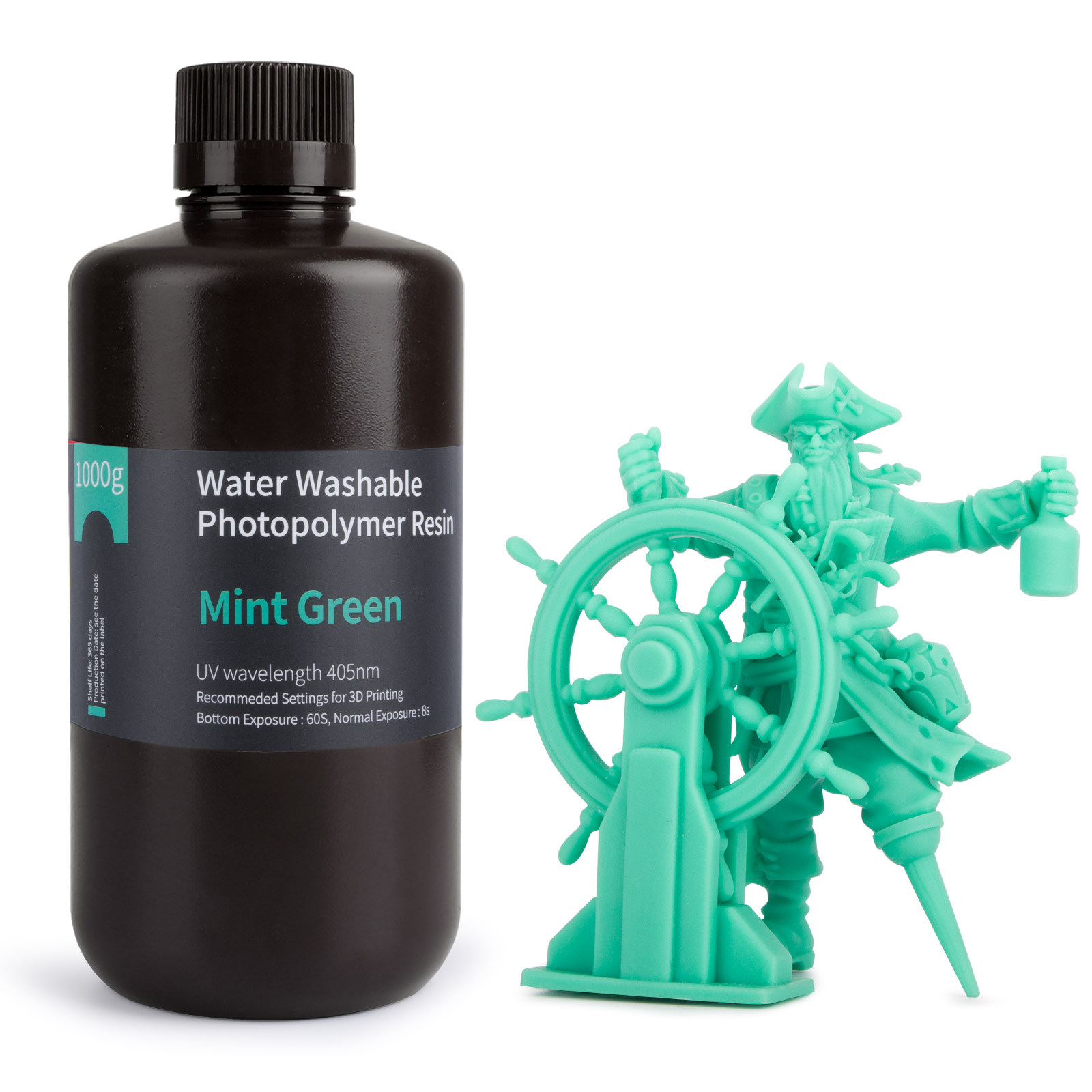 ELEGOO воды моющаяся Резина 3D-принтеры смолы 405nm УФ Смола Стандартный фотополимерные смолы для ЖК-дисплей 3D-принтеры мятно-зеленого цвета, 1000 м...