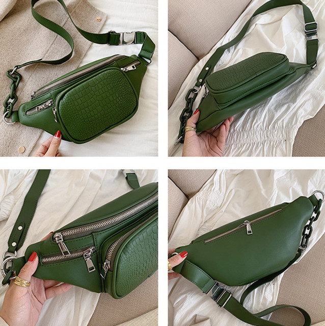 Stone Pattern PU Leather Waist Bag  3