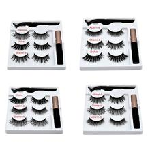 Magnetic False Eyelashes Eyeliner Magnet Eyelash Set 3 Pairs Of + Tweezers