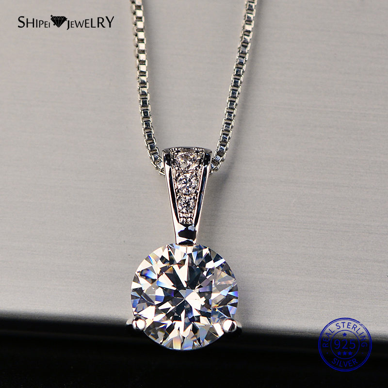 Shipei 925 Sterling Silver Necklace for Women Fine Jewelry Heart and Arrows Created Moissanite Pendant Necklace Birthday Gift