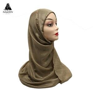 Image 5 - Luksusowe kobiety szalik shimmer zwykły szaliki jedwabne miękkie muzułmańskie głowy hidżab wspaniały pashmina echarpe wrap moda tłumik gorąca sprzedaż