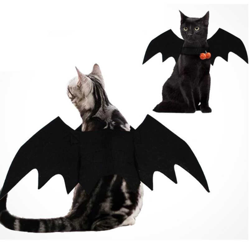 2019 Novas Asas de Morcego Vampiro Halloween Trajes Do Cão de Estimação Bonito Preto Fancy Dress Up Halloween Traje Do Gato Do Cão do animal de Estimação