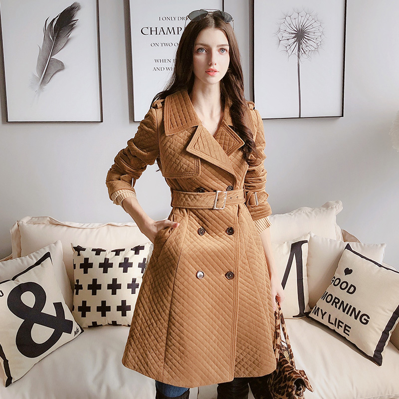 Dabuwawa Women New Elegant Slim Warm Trench Windbreaker Double Breasted Moto Sytle Long Trench Coat Outwear Female D18CTC022