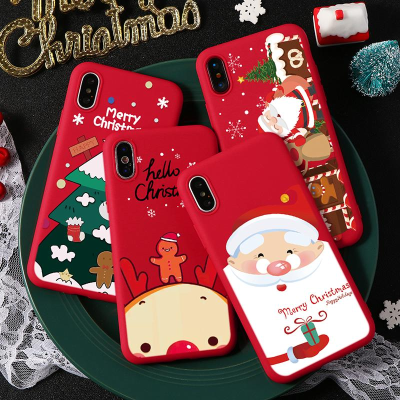 For TPU iPhone XS MAX Christmas Tree Phone Case For iPhone XS MAX XS X XR 11 For iPhone 5 5S SE 6 6S 8Plus 7 Plus Soft Red Cover