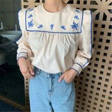 Женская винтажная блузка в стиле ретро с оборками и вышивкой