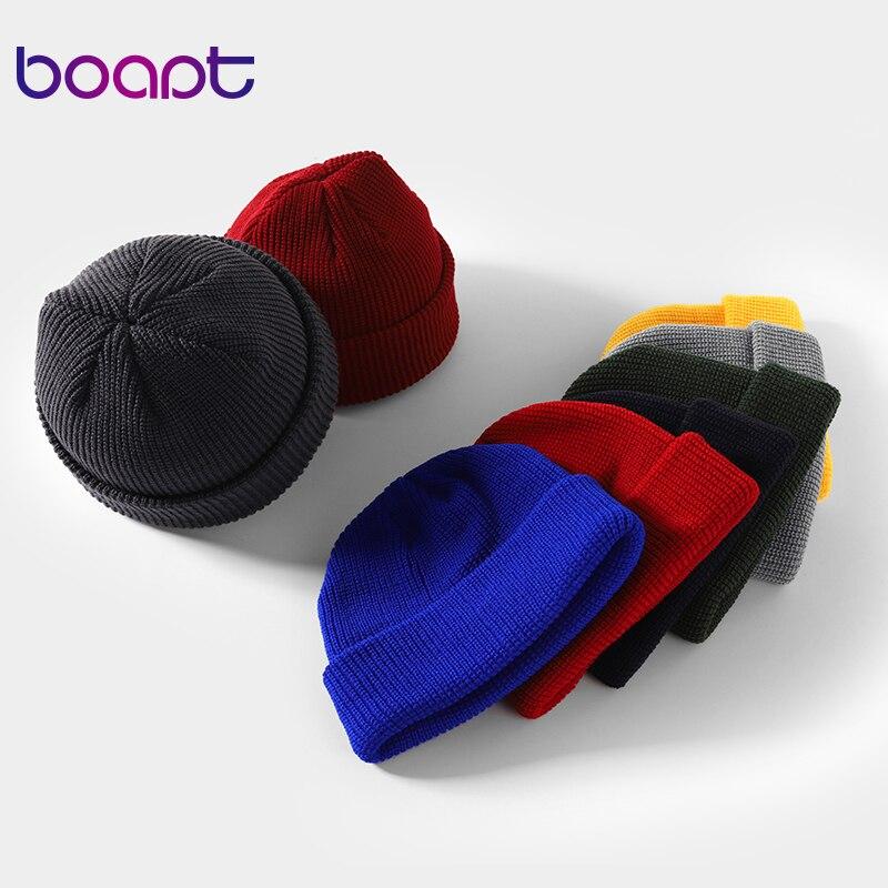 Unisex Knitted Hat Beanies Caps Women Men Skullcap Winter Brimless Short Melon Cap Baggy Skullies Casual Winter Bonnet Femme