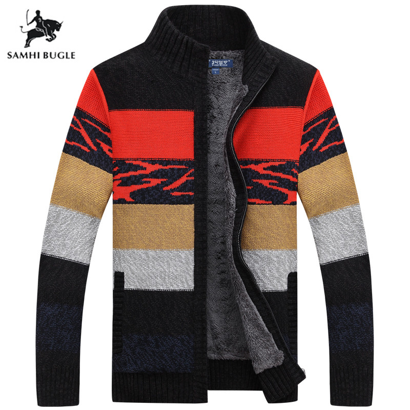 Brand Sweater Cardigan Men 2019 Winter Sweater Men Pattern Striped Zipper Thicken Fleece Coat Agasalho Masculino