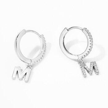 1 pair Trendy cubic zirconia Initial Letter A-Z Earrings silver gold small hoop earrings For Women Jewelry oorbelen orecchini 2
