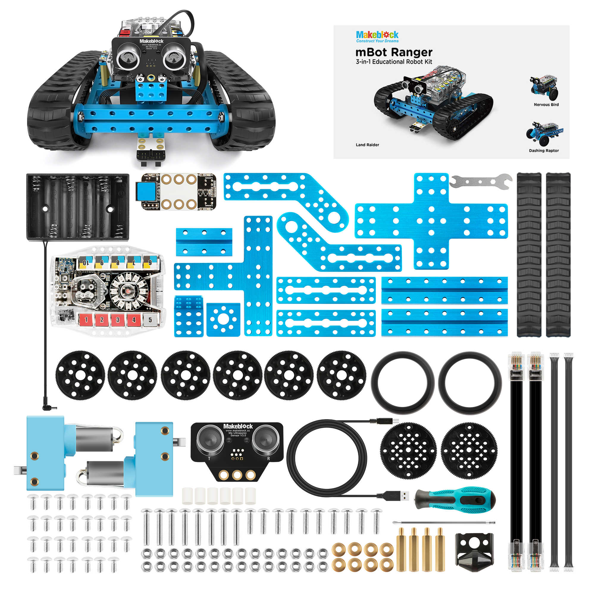 Kit de Robot Makeblock mBot Ranger programable, Arduino, educación STEM, robótica Programable 3 en 1 para niños, edad 12 +