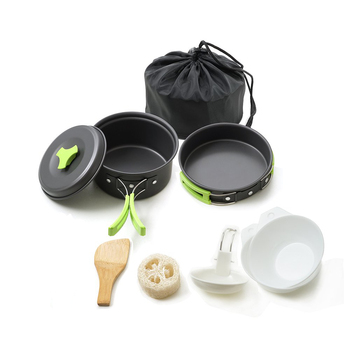 Aluminium Camping Cookware Set Outdoor Camping Tableware Cooking Set Travel Cutlery Utensils Hiking Picnic Set for 1-2 People widesea camping cookware titanium tableware tourist pot outdoor cooking kitchen picnic utensils backpack hiking trekking
