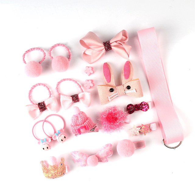 18 Pcs hair clip set Cute Hair Accessories Girl cartoon hair clip headwear Bow Flower animal Hairpin hair ring Elastic Headdress