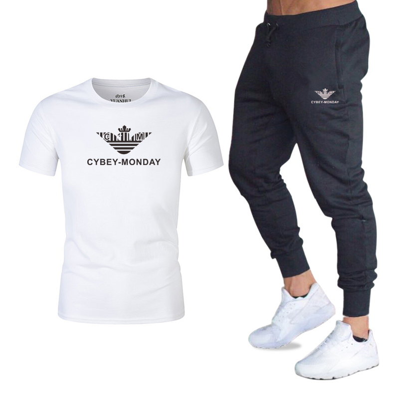 2020 Fashion Hot Sale Men's Sets T Shirts+Pants Two Pieces Sets Casual Tracksuit Male New Casual Tshirt Fitness Trousers Men