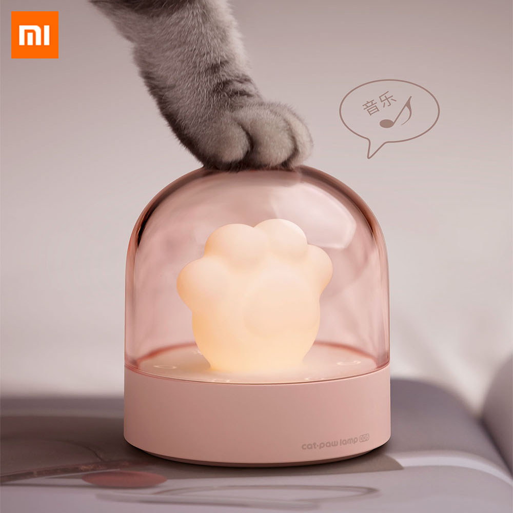 Xiaomi 3Life Night Lamp LED Ambient Lights Cartoon Cute Cat Claw Shape Bedside Musical Lamp Cats Paw Lamp For Smart Home Use