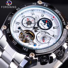 цена на Forsining Automatic Men Sport Watch White Tourbillon Mechanical Self-Wind Date Moonphase Steel Band Male Clock Relogio Masculino