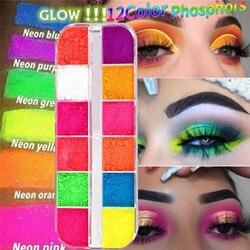 12 цветов/коробка флуоресцентные неоновые пигментные тени для век палитра для макияжа блестящие мерцающие тени для век для тела для ногтей к...